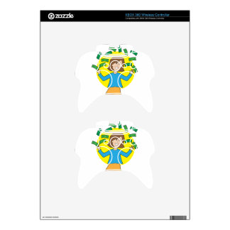 Happy Lady and Money Xbox 360 Controller Skin