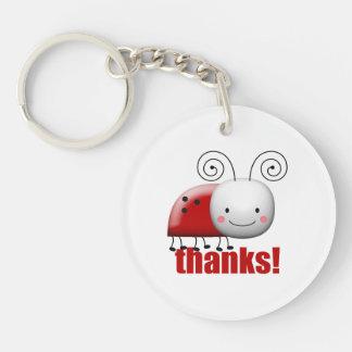 Happy Lady Bug Says Thanks Keychain