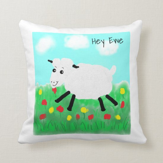 Happy Lamb Cute Throw Pillow