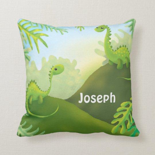happy land dino dinosaur cartoon throw pillow