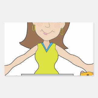 Happy Laptop Lady Rectangle Sticker