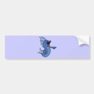 HAPPY LAUGHING BLUE CARTOON FISH GRAPHIC HUMOR LIG BUMPER STICKER