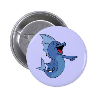HAPPY LAUGHING BLUE CARTOON FISH GRAPHIC HUMOR LIG PIN