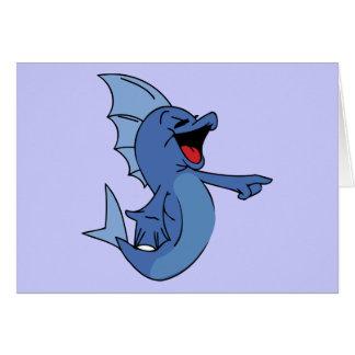 HAPPY LAUGHING BLUE CARTOON FISH GRAPHIC HUMOR LIG GREETING CARD