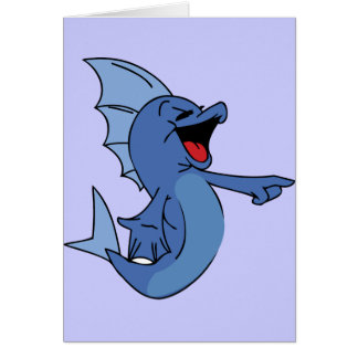 HAPPY LAUGHING BLUE CARTOON FISH GRAPHIC HUMOR LIG CARD