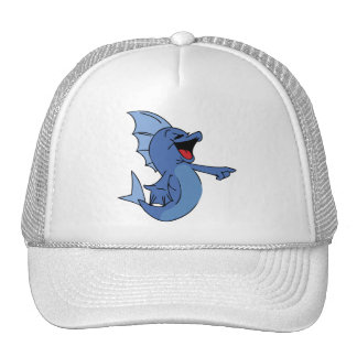 HAPPY LAUGHING BLUE CARTOON FISH GRAPHIC HUMOR LIG HAT