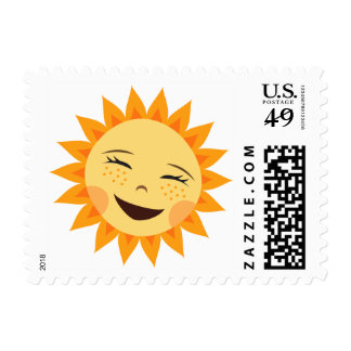 Happy laughing sun cute cartoon postage stamp