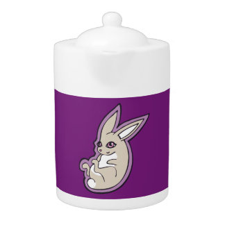 Happy Lavender Rabbit Pink Eyes Ink Drawing Design