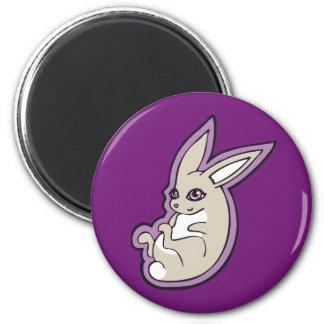 Happy Lavender Rabbit Pink Eyes Ink Drawing Design 2 Inch Round Magnet
