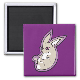 Happy Lavender Rabbit Pink Eyes Ink Drawing Design 2 Inch Square Magnet