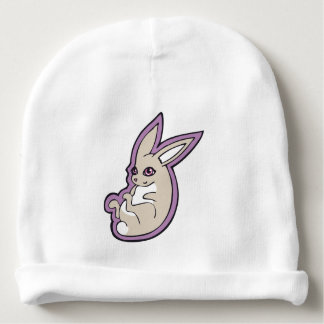 Happy Lavender Rabbit Pink Eyes Ink Drawing Design Baby Beanie