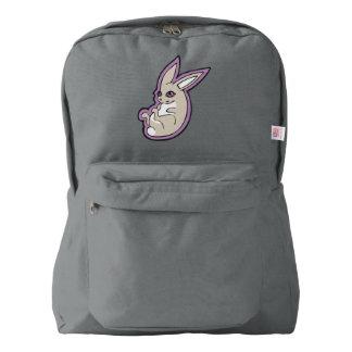 Happy Lavender Rabbit Pink Eyes Ink Drawing Design Backpack
