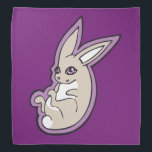 """Happy Lavender Rabbit Pink Eyes Ink Drawing Design Bandana<br><div class=""""desc"""">A happy smiling bunny rabbit with pale lavender colored fur and light pink eyes and nose with long ears on a violet purple background color. Original ink drawing with clean graphic lines by Alicia Marie.</div>"""