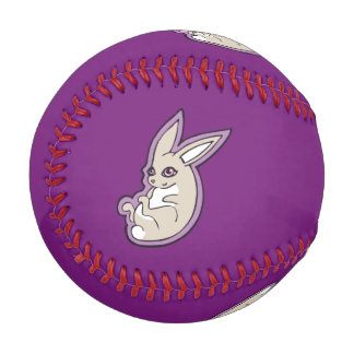 Happy Lavender Rabbit Pink Eyes Ink Drawing Design Baseball