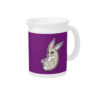 Happy Lavender Rabbit Pink Eyes Ink Drawing Design Beverage Pitcher