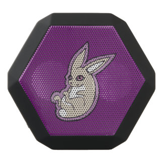 Happy Lavender Rabbit Pink Eyes Ink Drawing Design Black Bluetooth Speaker