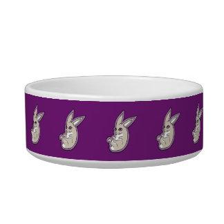 Happy Lavender Rabbit Pink Eyes Ink Drawing Design Bowl