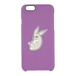 Happy Lavender Rabbit Pink Eyes Ink Drawing Design Clear iPhone 6/6S Case