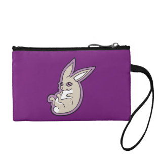 Happy Lavender Rabbit Pink Eyes Ink Drawing Design Coin Purse