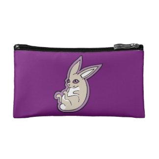 Happy Lavender Rabbit Pink Eyes Ink Drawing Design Cosmetic Bag