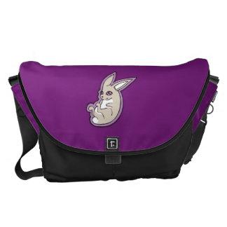 Happy Lavender Rabbit Pink Eyes Ink Drawing Design Courier Bag