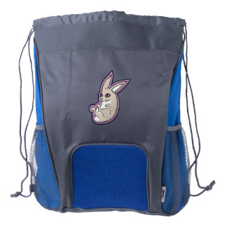 Happy Lavender Rabbit Pink Eyes Ink Drawing Design Drawstring Backpack