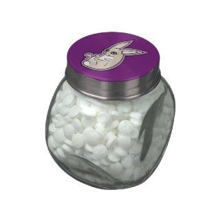 Happy Lavender Rabbit Pink Eyes Ink Drawing Design Glass Candy Jars