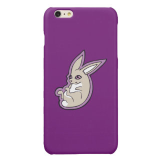 Happy Lavender Rabbit Pink Eyes Ink Drawing Design Glossy iPhone 6 Plus Case