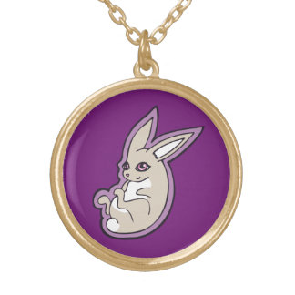Happy Lavender Rabbit Pink Eyes Ink Drawing Design Gold Plated Necklace