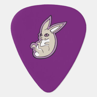 Happy Lavender Rabbit Pink Eyes Ink Drawing Design Guitar Pick