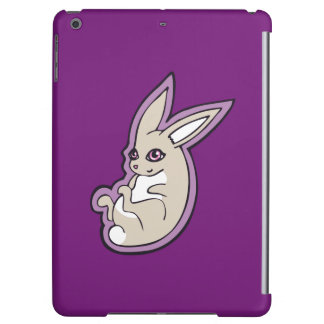 Happy Lavender Rabbit Pink Eyes Ink Drawing Design iPad Air Cover