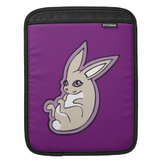 Happy Lavender Rabbit Pink Eyes Ink Drawing Design iPad Sleeve