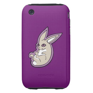 Happy Lavender Rabbit Pink Eyes Ink Drawing Design iPhone 3 Tough Cover