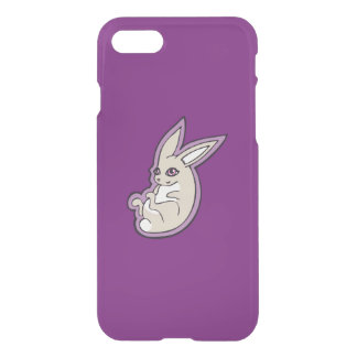 Happy Lavender Rabbit Pink Eyes Ink Drawing Design iPhone 8/7 Case