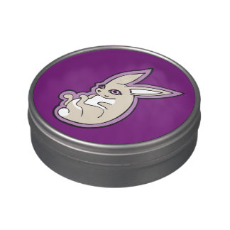 Happy Lavender Rabbit Pink Eyes Ink Drawing Design Jelly Belly Candy Tin