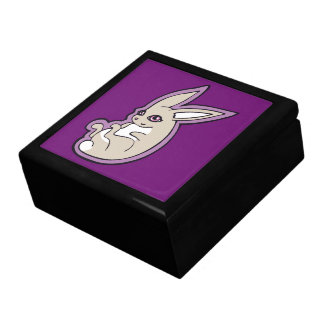 Happy Lavender Rabbit Pink Eyes Ink Drawing Design Keepsake Box