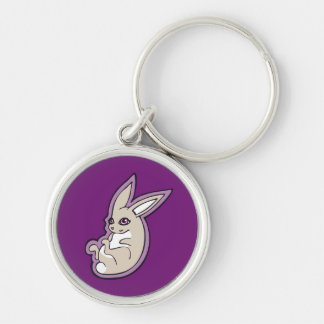Happy Lavender Rabbit Pink Eyes Ink Drawing Design Keychain