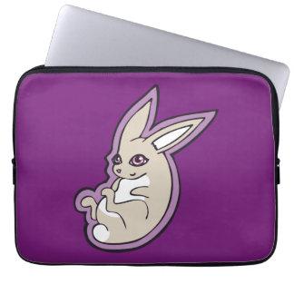 Happy Lavender Rabbit Pink Eyes Ink Drawing Design Laptop Sleeve