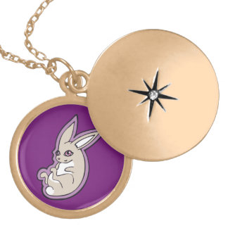 Happy Lavender Rabbit Pink Eyes Ink Drawing Design Locket Necklace