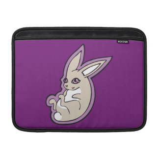 Happy Lavender Rabbit Pink Eyes Ink Drawing Design MacBook Sleeve