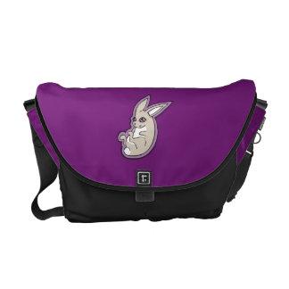 Happy Lavender Rabbit Pink Eyes Ink Drawing Design Messenger Bag