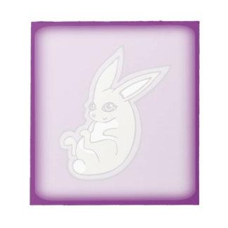 Happy Lavender Rabbit Pink Eyes Ink Drawing Design Note Pad
