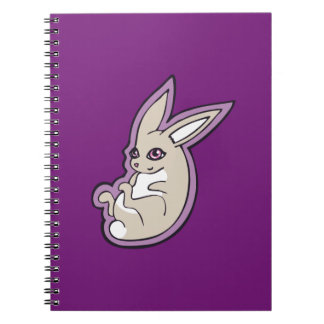 Happy Lavender Rabbit Pink Eyes Ink Drawing Design Notebook