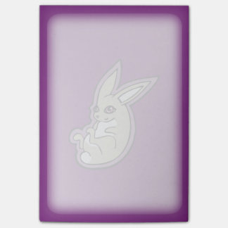 Happy Lavender Rabbit Pink Eyes Ink Drawing Design Post-it® Notes