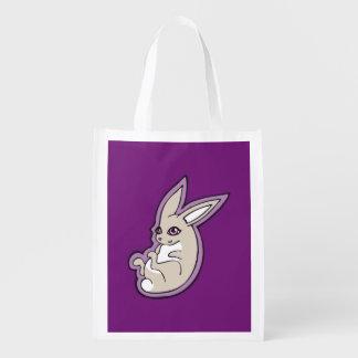 Happy Lavender Rabbit Pink Eyes Ink Drawing Design Reusable Grocery Bag