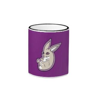 Happy Lavender Rabbit Pink Eyes Ink Drawing Design Ringer Mug