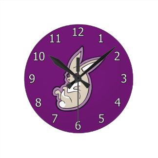 Happy Lavender Rabbit Pink Eyes Ink Drawing Design Round Clock