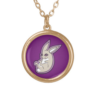 Happy Lavender Rabbit Pink Eyes Ink Drawing Design Round Pendant Necklace