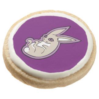 Happy Lavender Rabbit Pink Eyes Ink Drawing Design Round Shortbread Cookie