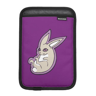 Happy Lavender Rabbit Pink Eyes Ink Drawing Design Sleeve For iPad Mini
